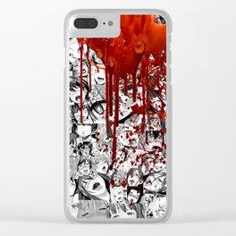Ahegao Hentai Manga Anime B&W Girls Collage Halloween Clear iPhone Case