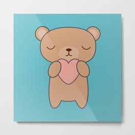 Kawaii Cute Brown Bear Metal Print
