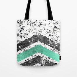 Geometrical black white turquoise marble chevron Tote Bag