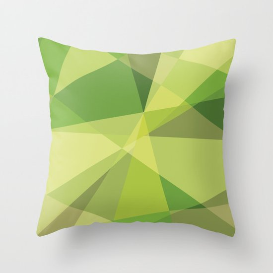 Green Geometric Throw Pillow : Green abstract geometric background Throw Pillow by Dorvidesign Society6