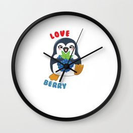 I Love You Berry Much Cute Penguin Animal Pun Wall Clock