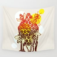 honeycomb Wall Tapestries featuring The Honeycomb by minniemorrisart