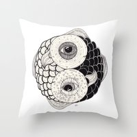 pisces Throw Pillows featuring pisces by NikaQ