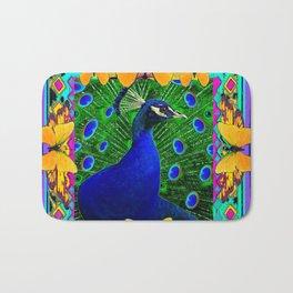 Decorative Blue Peacock & Yellow Butterflies Art Bath Mat