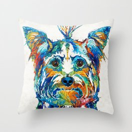 Colorful Yorkie Dog Art - Yorkshire Terrier - By Sharon Cummings Throw Pillow