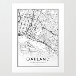 Oakland City Map United States White and Black Art Print