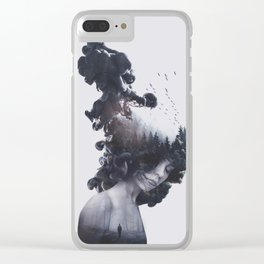 Walking trough flames Clear iPhone Case