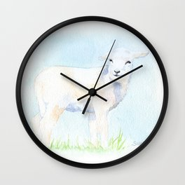 Lamb in the Pasture Watercolor Wall Clock