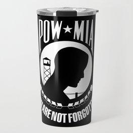 The POW MIA (Prisoner of War - Missing in Action) flag Travel Mug
