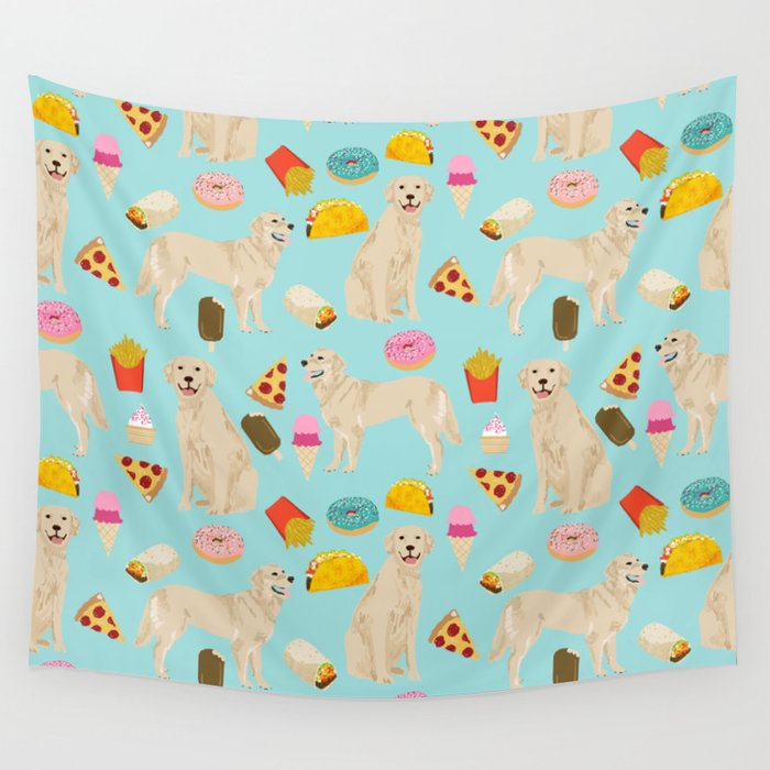 Golden Retriever donuts french fries ice cream pizzas funny dog gifts dog breeds Wall Tapestry