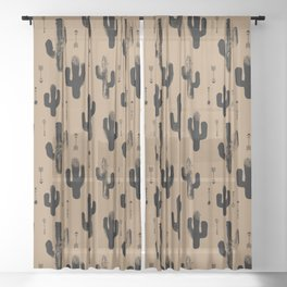 Cactus Desert terra cotta Monochrome winter Stone Pattern Design Kids Boys Sheer Curtain