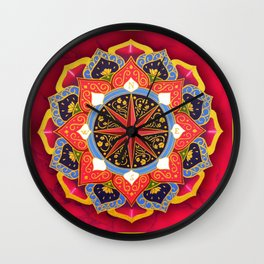 """Rose of the Winds"" Pink mandala by Ilse Quezada Wall Clock"