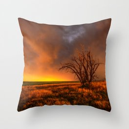 Fascinations - Warm Light and Rumbles of Thunder in Oklahoma Throw Pillow