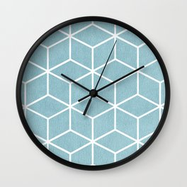 Light Blue and White - Geometric Textured Cube Design Wall Clock