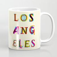 los angeles Mugs featuring Los Angeles by Fimbis