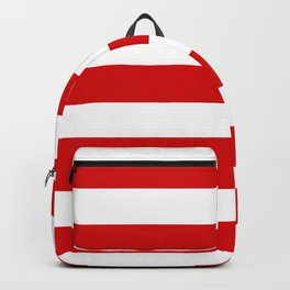 Rosso corsa - solid color - white stripes pattern Backpack