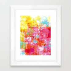 OFF THE GRID 2 Colorful Pink Pastel Neon Abstract Watercolor Acrylic Textural Art Painting Rainbow Framed Art Print
