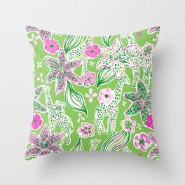 Fun Preppy Whimsical Giraffe Floral Print / Pattern Throw Pillow