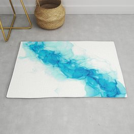 Wispy Turquoise: Original Abstract Alcohol Ink Painting Rug