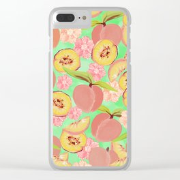 Peaches on Green Clear iPhone Case