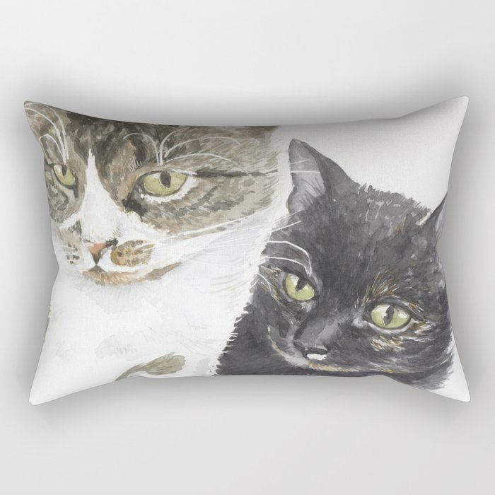 Two cats - tabby and tortie Rectangular Pillow
