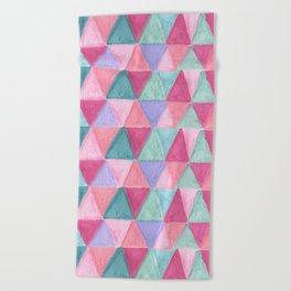 pastel triangle pattern Beach Towel