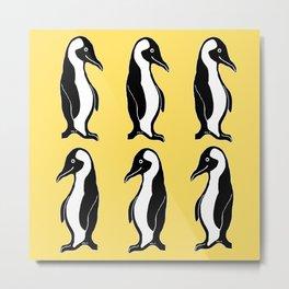 Penguins Pattern Yellow Metal Print