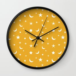 White moon and star pattern on orange background Wall Clock