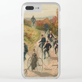 Vintage Bicycle Race 1800s Bike Riders Clear iPhone Case