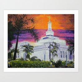 Asunción Paraguay LDS Temple Sunset Art Print