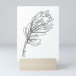 Abstract Protea Flower Continuous Line Drawing Mini Art Print