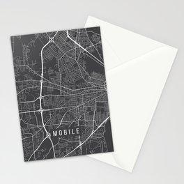 Mobile Map, Alabama USA - Charcoal Portrait Stationery Cards