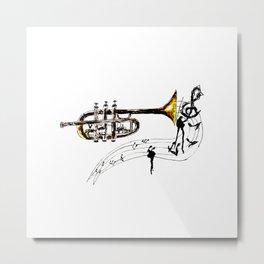 Trumpet Simple Sketch Metal Print