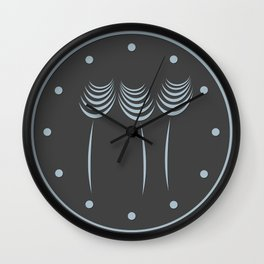 Abstract Ink Art Flowers In Blue Wall Clock