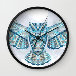 Blue Ethnic Owl Wall Clock