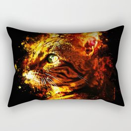 bengal cat yearns for freedom splatter watercolor Rectangular Pillow