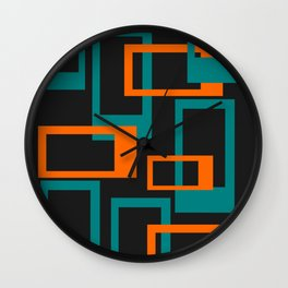 Mid Century Modern Layered Rectangles - Orange and Teal Wall Clock