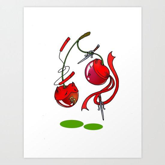 Cherry couplefight Art Print