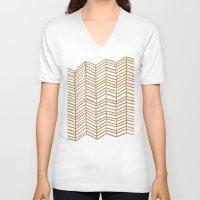 herringbone V-neck T-shirts featuring Kraft Herringbone by Cat Coquillette