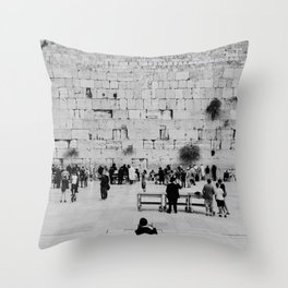 Holy-place, religious jewish men talking | The Western Wall in the Old City, Jerusalem, Israel | Fine art print photography Art Print Throw Pillow