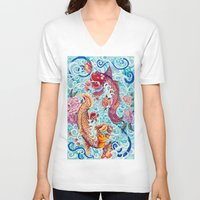 koi fish V-neck T-shirts featuring Koi Fish by Art by Risa Oram