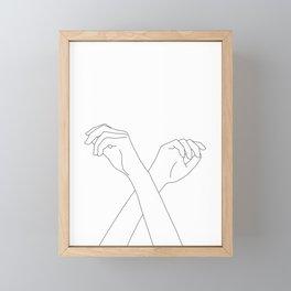 Crossed hands line drawing - Edie Framed Mini Art Print