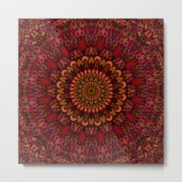 Bohemian Geometric Flower Mandala Metal Print