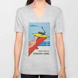 1961 RELAX Cruise Ship Travel Poster Unisex V-Neck