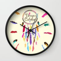 dreamcatcher Wall Clocks featuring Dreamcatcher by O. Be