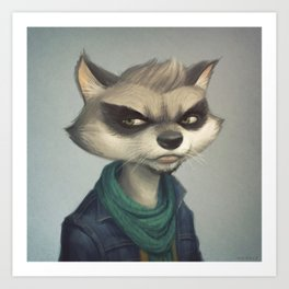 Hipster Raccoon Art Print