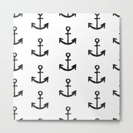 Anchor - White with Black Metal Print