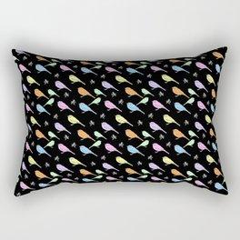 Pastel Shrike-thrushes on Black Rectangular Pillow