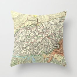 The Great Smoky Mountains National Park Map (1997) Throw Pillow