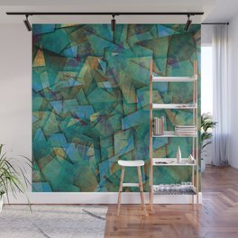 Fragments In blue - Abstract, fragmented art in blue Wall Mural